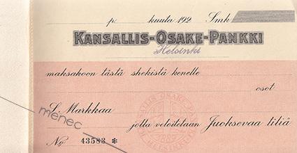 Antikvaarinen kirjakauppa Menec - Kansallis-Osake-Pankki, shekkivihko