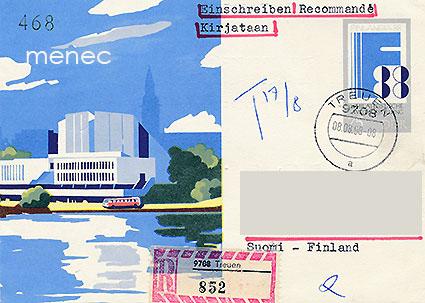 Ehiö Finlandia 88, DDR 75 Pf, kirjattu, kulkenut Suomeen