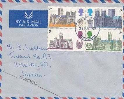 Iso-Britannia, katedraaleja 1969, 4kpl, FDC