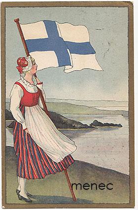 Suomi-neito ja lippu kansallismaisemassa