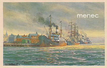Bock, Adolf - Helsinki, Katajanokansatama, höyry- ja purjealus