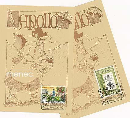 Apollo, postikorttinäyttely Helsinki 18.4.1982, 2 korttia erikoisleimoin