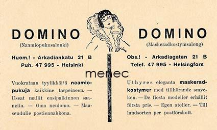 Domino (Naamiopukusalonki), Helsinki, mainoskortti