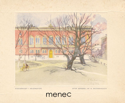 Backmansson, Hugo - Helsinki, Riddarhuset, taittokortti