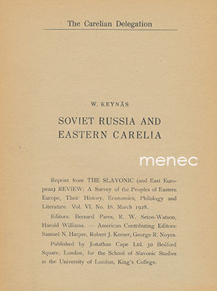 Keynäs, W. - Soviet Russia and Eastern Carelia