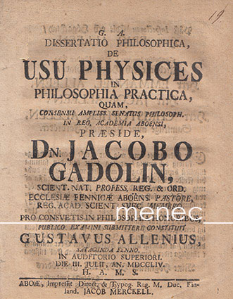 Gadolin, Jakob - Dissertatio philosophica, de usu physices philosophia practica