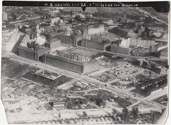 Antikvaarinen kirjakauppa Menec - Helsinki, Töölö, ilmakuva 500 metristä 20.9.1929