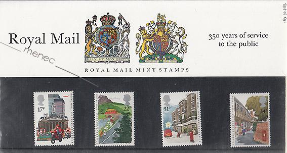 Royal Mail 350 vuotta, 4 postimerkkiä kotelossa