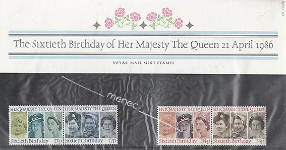 Kuningatar 60 vuotta, 4 postimerkkiä kotelossa